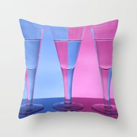 Refracted Wine Glasses  Throw Pillow