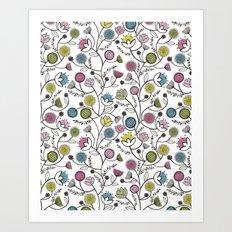 Black Border Florals Art Print
