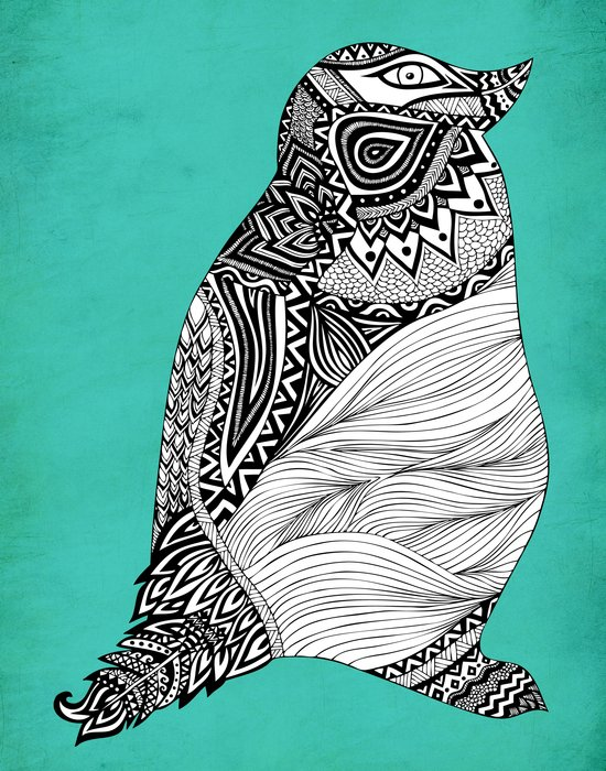 Tribal Penguin Art Print