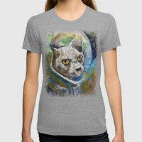 Space Cat Womens Fitted Tee Tri-Grey SMALL