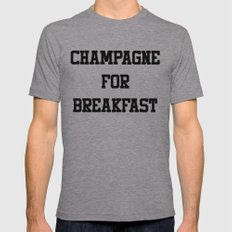 Champagne For Breakfast Mens Fitted Tee Athletic Grey SMALL