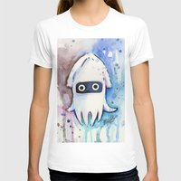 Blooper Watercolor Mario Art Womens Fitted Tee White SMALL
