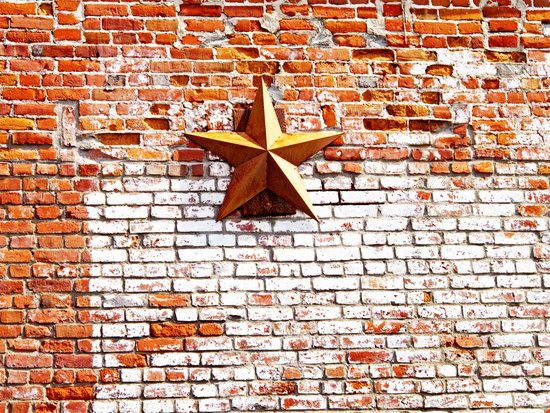 Gold Star on Brick Art Print