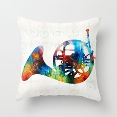 Colorful French Horn - Color Fusion By Sharon Cummings  Throw Pillow