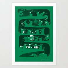 There's a party in my snake Art Print