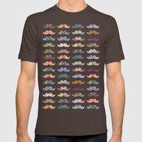 Mustache Mania Mens Fitted Tee Brown SMALL
