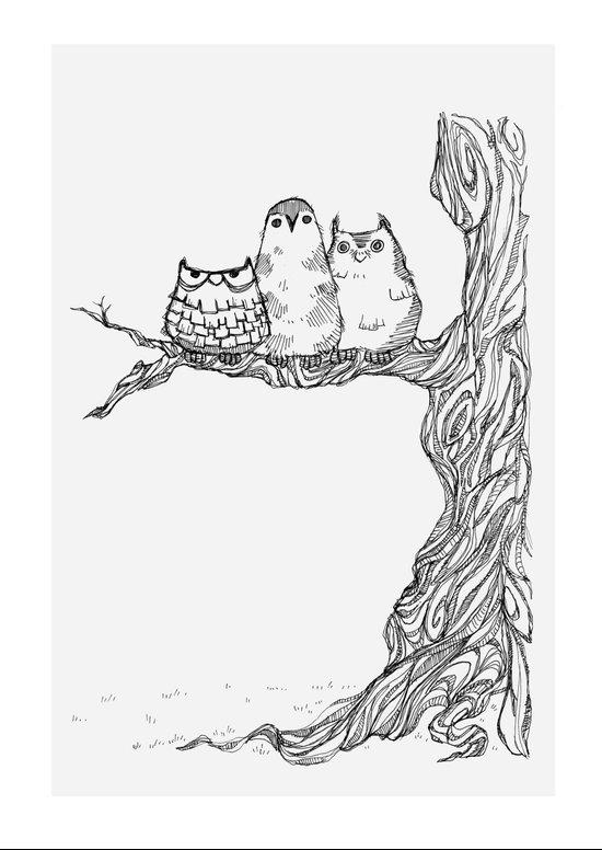 Three owls in a tree Art Print