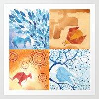 4 small paintings (Bird, Goat, Ladybird and Kangaroo) Art Print