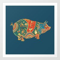 Painted Pig Art Print