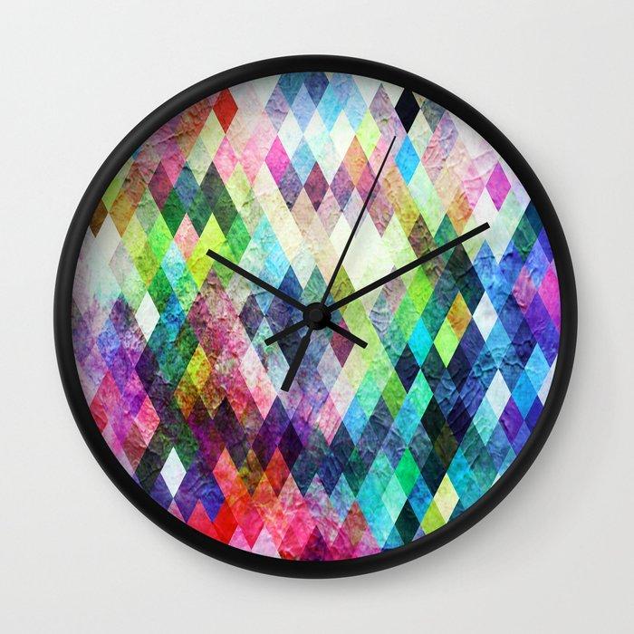 Diamond Design Wall Clock : Diamond bright painted design wall clock by samantha lynn