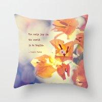 Begin with Joy Throw Pillow