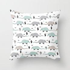 Cool western cactus desert Armadillo Animals illustration pattern Throw Pillow