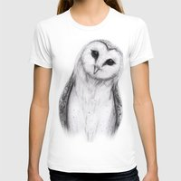 Barn Owl Sketch Womens Fitted Tee White SMALL