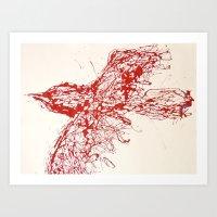 Crow, Red, Bird 2 Art Print