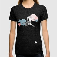 farewell bubbles  Womens Fitted Tee Tri-Black SMALL