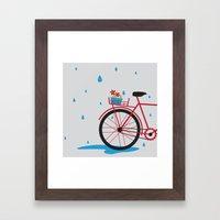 Bicycle & rain Framed Art Print