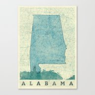 Alabama Map Blue Vintage Canvas Print