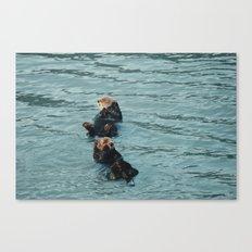 Coastal sea otters Canvas Print
