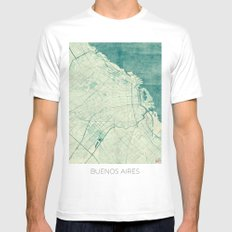 Buenos Aires Map Blue Vintage Mens Fitted Tee White SMALL