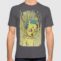 The Golden Boy With Blue… Mens Fitted Tee Asphalt SMALL