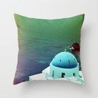 Blue Dome Church, Santorini: Shot with a Nikon FM2 and Revolog 600nm film Throw Pillow