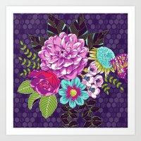 Bloomin' Beauties Violet Art Print