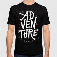 Adventure Awaits Mens Fitted Tee Black SMALL