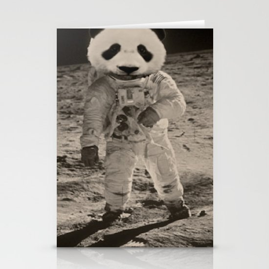 One Small Step For Man, One Giant Panda For Mankind Stationery Card