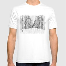 Fog and Rain: Cityscape (WHITEOUT) Mens Fitted Tee White SMALL