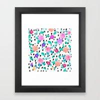 Girly floral watercolor brushstrokes pattern Framed Art Print