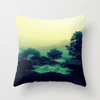 Dewey, misty morning Throw Pillow