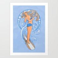 Surf Nouveau Art Print