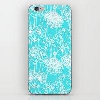 White Flowers On Turquoi… iPhone & iPod Skin