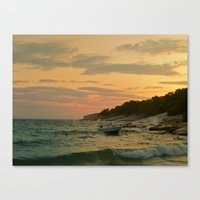 Boat On Sunset Canvas Print