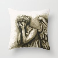 Weeping Angel Throw Pillow