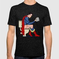 Superhero On Toilet Mens Fitted Tee Tri-Black SMALL