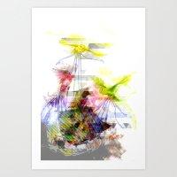 Flying Home (Glitch Remi… Art Print