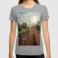 he who wanders enjoys life Womens Fitted Tee Tri-Grey SMALL