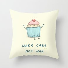 Make Cake Not War Throw Pillow