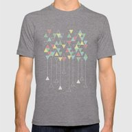 Dark Triangles III Mens Fitted Tee Tri-Grey SMALL
