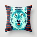 Geometric Wolf  Throw Pillow