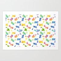 Ditsy birds Art Print