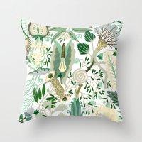 Green Flower Fantasy  Throw Pillow