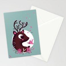 la biche et l'oiseau Stationery Cards