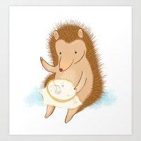 Hedgehog Stitching A Hed… Art Print