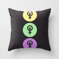 Feminist Power Fist, Tri-Colour Throw Pillow