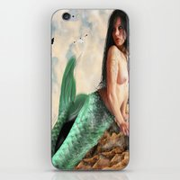 Sea Siren, Nude mermaid art iPhone & iPod Skin