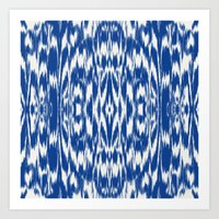 Ikat: Nautical Blue  Art Print