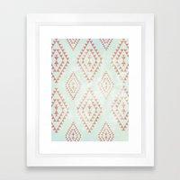 Mint & Coral Tribal Patt… Framed Art Print