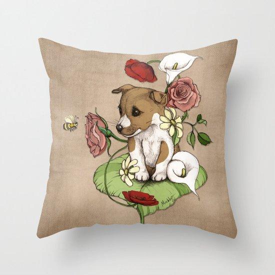 Puppy Posie Throw Pillow